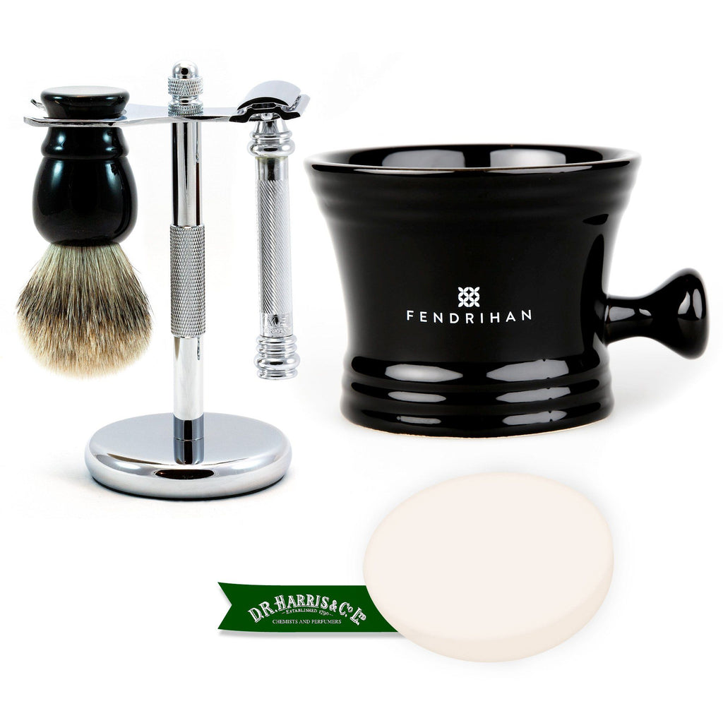 5-Piece Merkur 38C Set with D.R. Harris Shaving Soap Shaving Kit Fendrihan