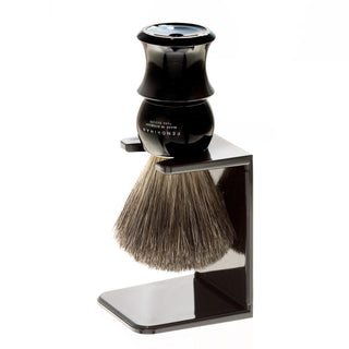 Fendrihan Pure Badger Shaving Brush with Stand, Black Handle Badger Bristles Shaving Brush Fendrihan