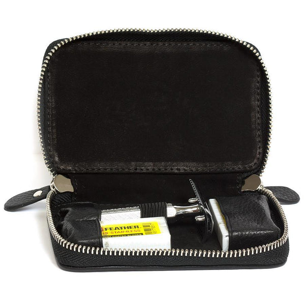 Fendrihan Travel Case for Safety Razor, Pebbled Leather with Nubuck Lining, Black - Fendrihan Canada - 3