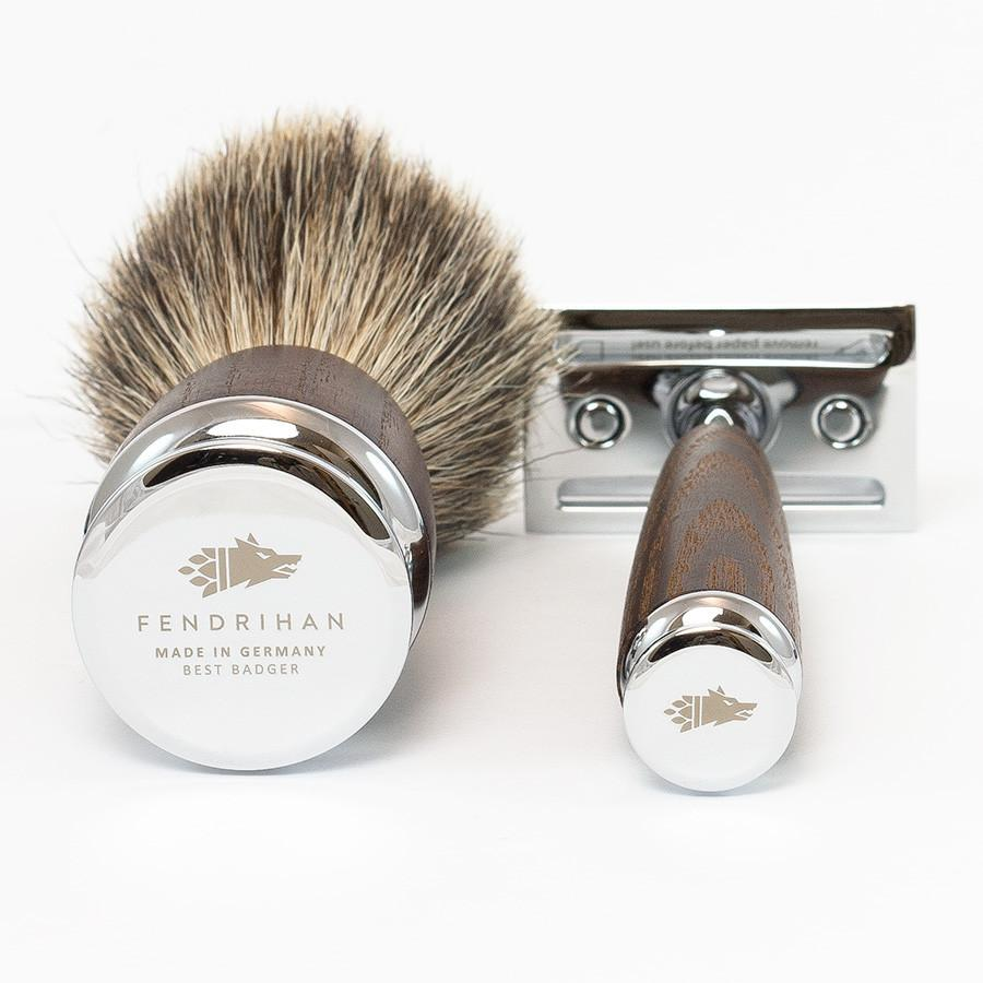 Dacian Draco 4-Piece Shaving Set with Safety Razor and Best Badger Brush, Ash Wood Handles Shaving Kit Fendrihan