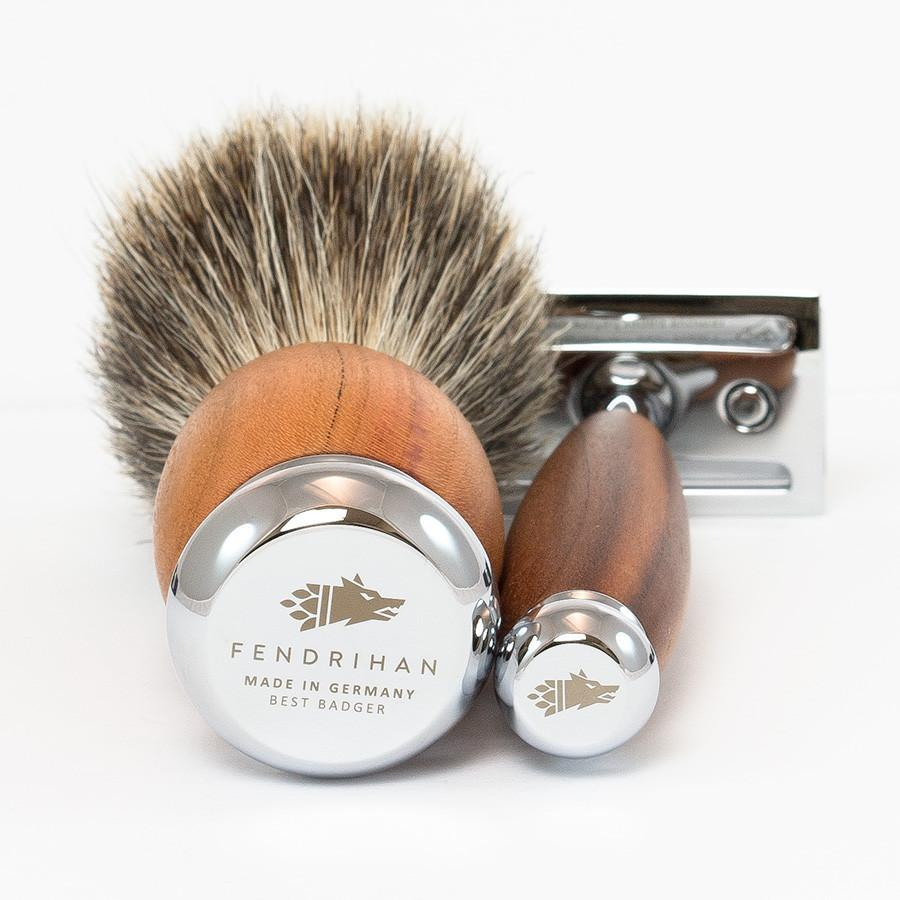Dacian Draco 4-Piece Shaving Set with Safety Razor and Best Badger Brush, Plum Wood Handles Shaving Kit Fendrihan