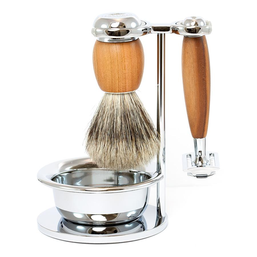 Dacian Draco 4-Piece Shaving Set with Safety Razor and Best Badger Brush, Plum Wood Handles - Fendrihan Canada - 1