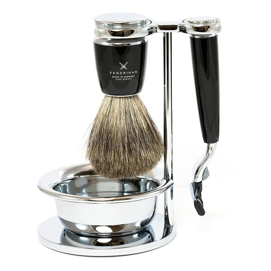 Fendrihan 4-Piece Shaving Set with Gillette Mach3 Razor and Pure Badger Brush, Black Shaving Kit Fendrihan