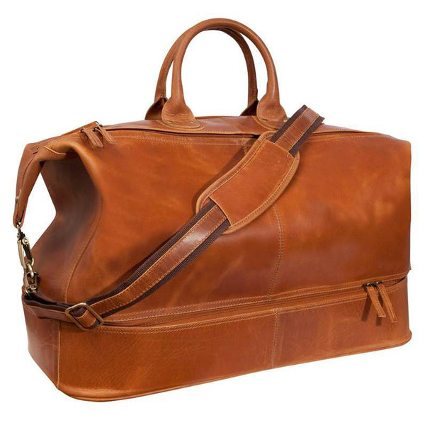 Fendrihan Arizona Buffed Waxed Leather Travel Bag, Cognac - Fendrihan Canada - 1