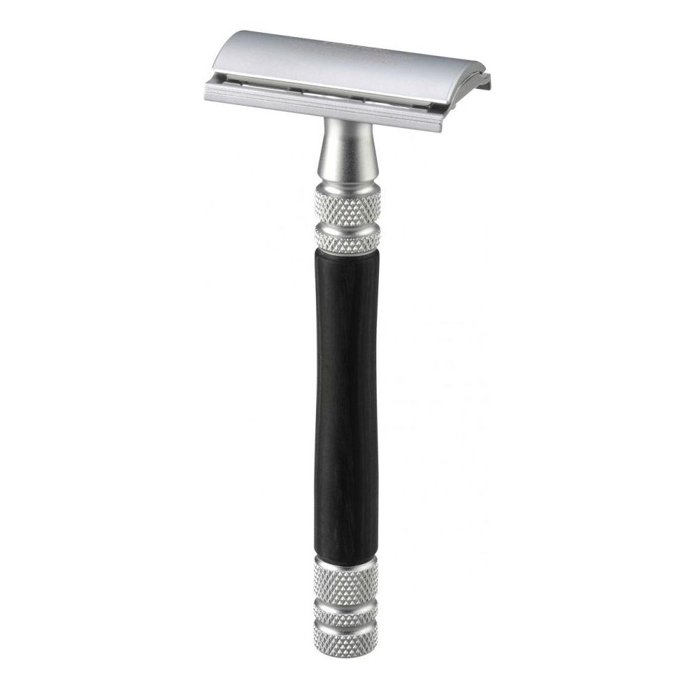 Feather WS-D2S Double Edge Stainless Steel and Wood Safety Razor, with Stand Double Edge Safety Razor Feather