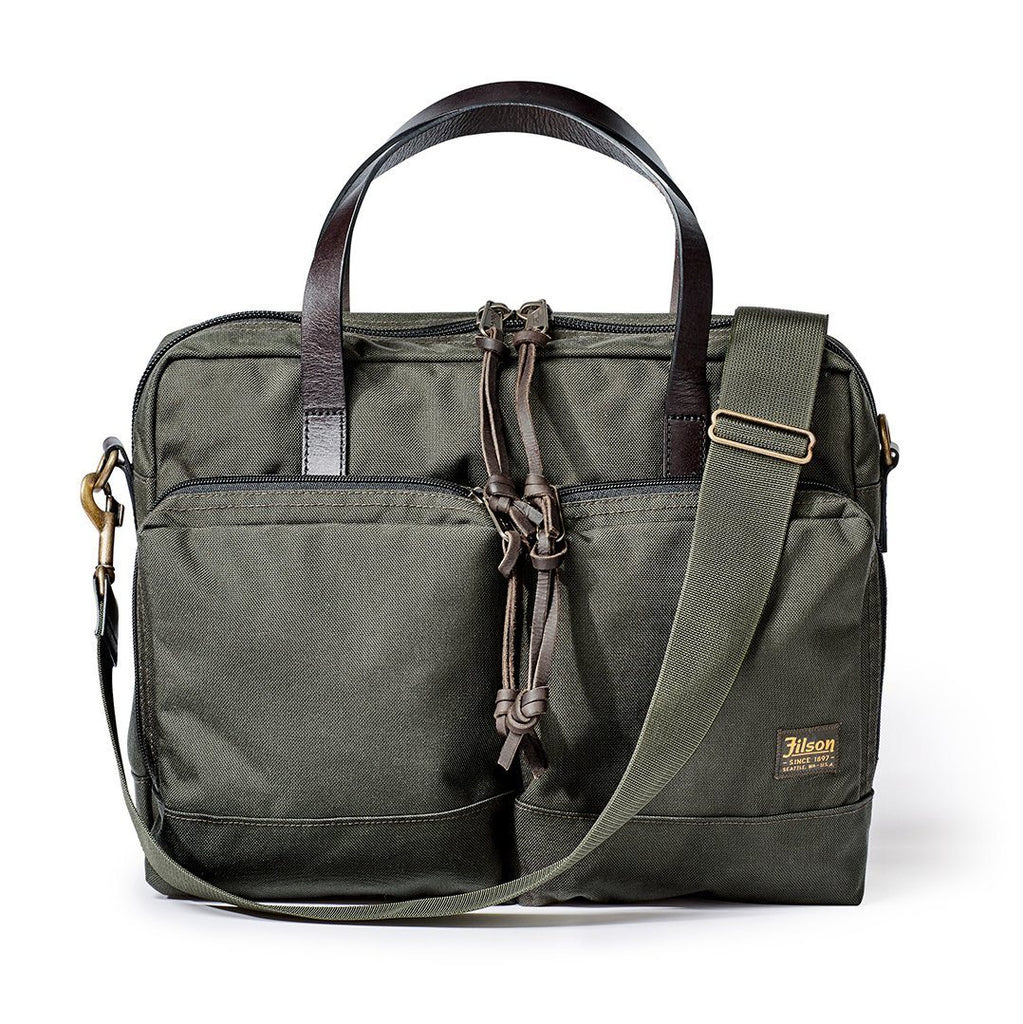 FILSON Dryden Briefcase Leather Messenger Bag FILSON Otter Green