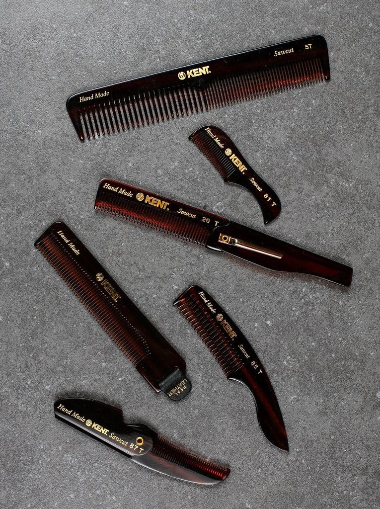 Kent 20T Hand-finished Folding Pocket Comb with Clip Comb Kent