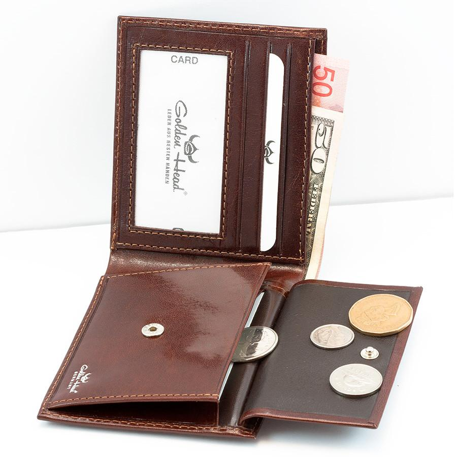 Golden Head Colorado Eco-Tanned Italian Leather Wallet with Coin Purse and 3 CC Slots, Tobacco Leather Wallet Golden Head