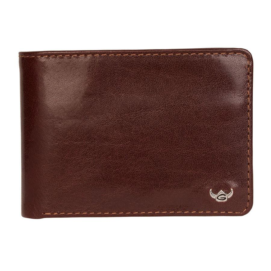Golden Head Colorado Vegetable-Tanned 2 CC Mini Leather Wallet with Coin Pocket, Tobacco Leather Wallet Golden Head