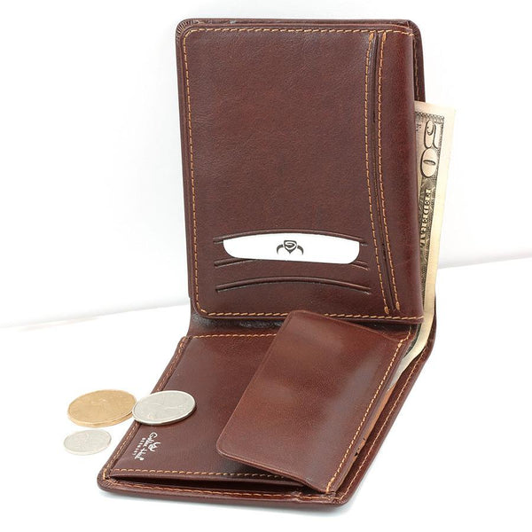Golden Head Colorado Eco-Tanned Italian Leather Wallet with Coin Purse and 7 CC Slots, Tobacco - Fendrihan Canada - 3