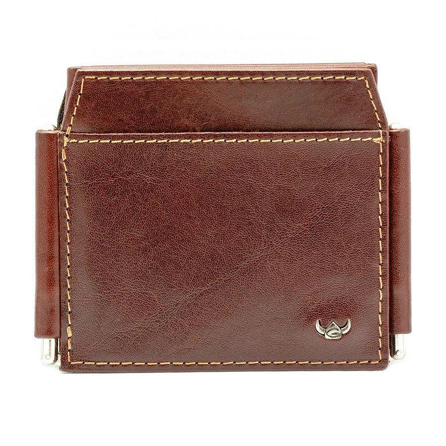 Golden Head Colorado 4 CC Double Money Clip Billfold Leather Wallet Leather Wallet Golden Head Tobacco