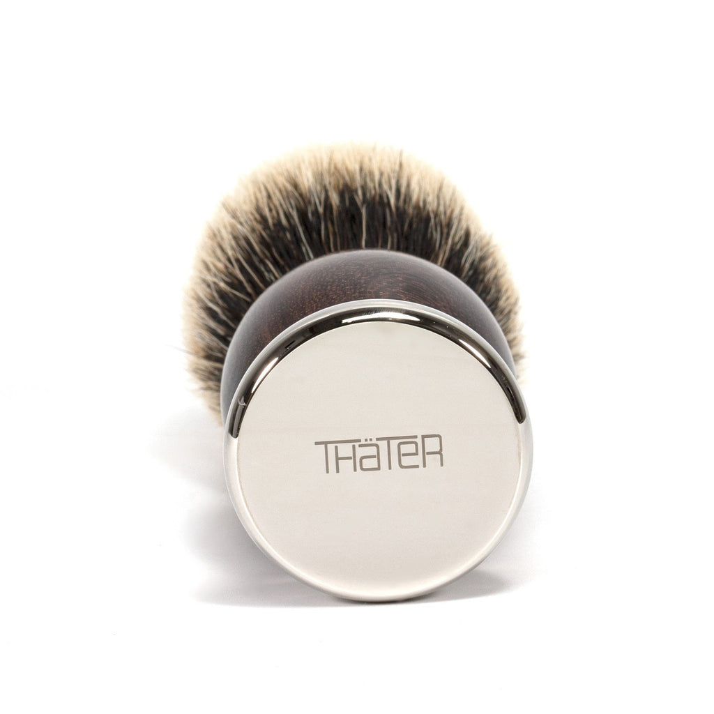 H.L. Thater 4292 Precious Woods Series 2-Band Silvertip Shaving Brush with Coraçao de Negro Handle, Size 6 Badger Bristles Shaving Brush Heinrich L. Thater