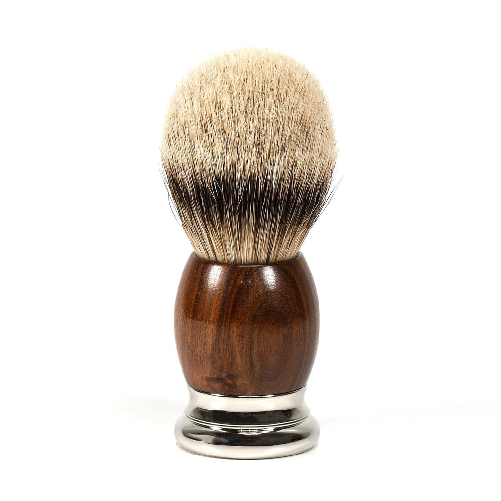 H.L. Thater 4292 Precious Woods Series Silvertip Shaving Brush with Mopane Wood Handle, Size 6 Badger Bristles Shaving Brush Heinrich L. Thater