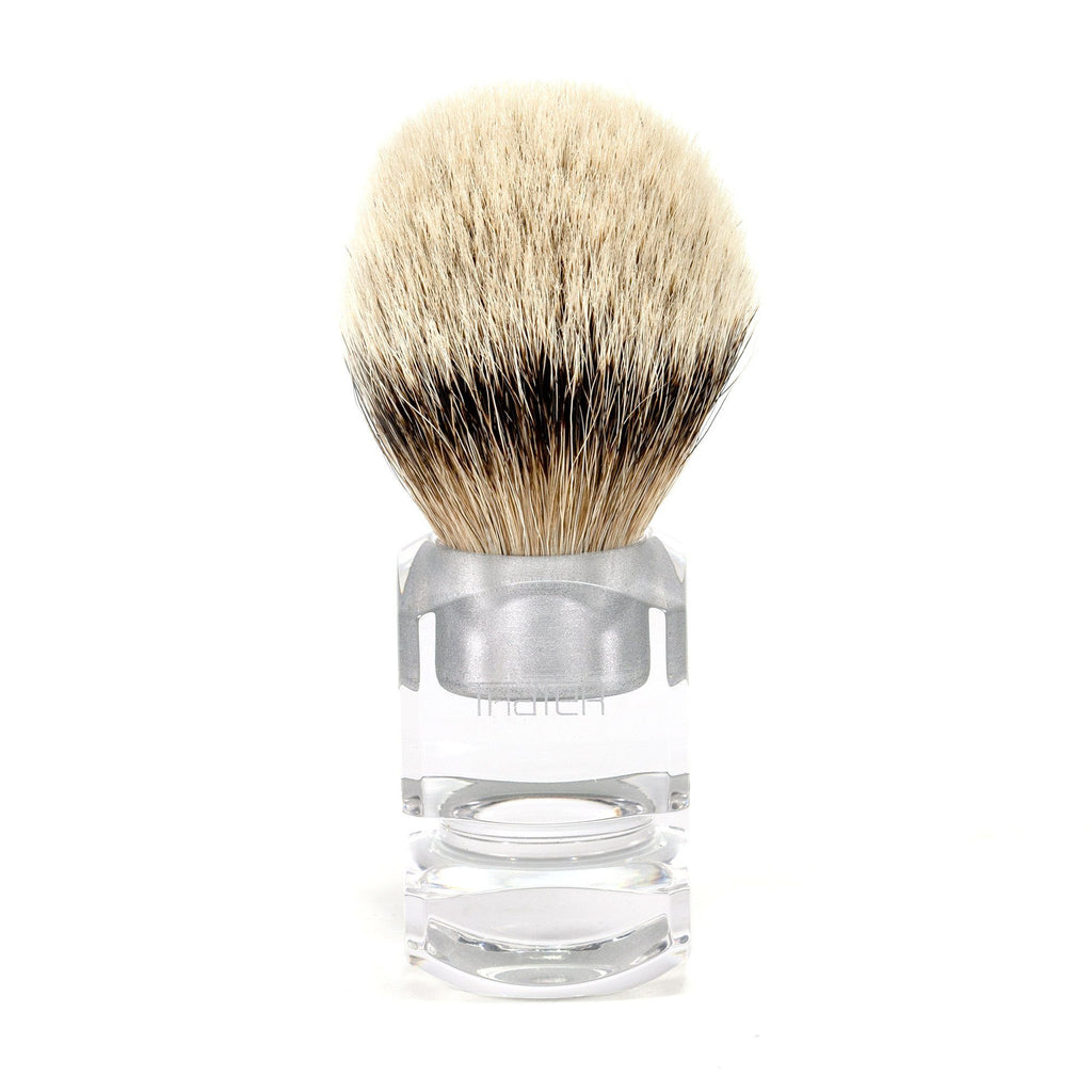 H.L. Thater 4376 Series Silvertip Shaving Brush with Clear Handle, Size 6 Badger Bristles Shaving Brush Heinrich L. Thater