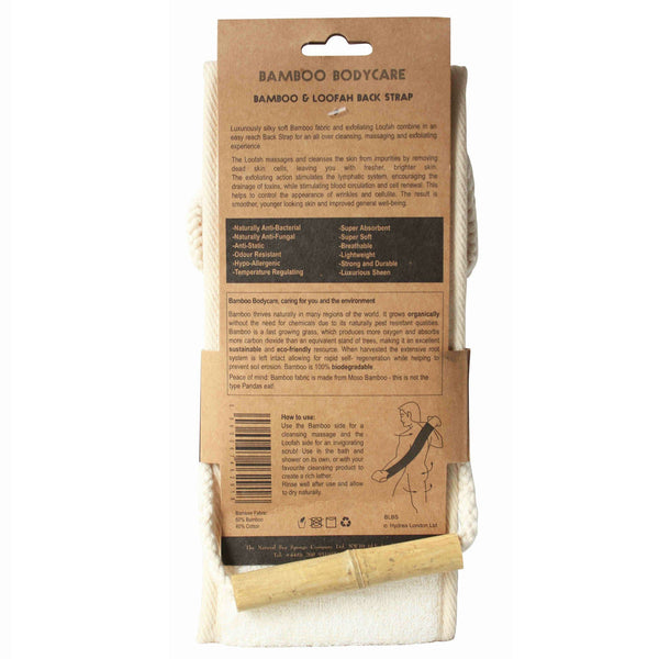Hydrea London Bamboo and Loofah Exfoliator Back Strap - Fendrihan Canada - 3