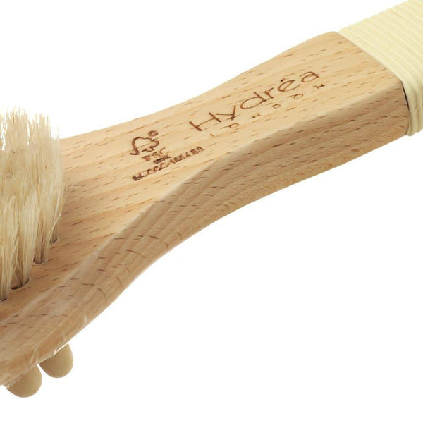 Hydrea London Pure Bristle Bath and Massage Brush, FSC Beechwood with Rubber Grip - Fendrihan Canada - 2