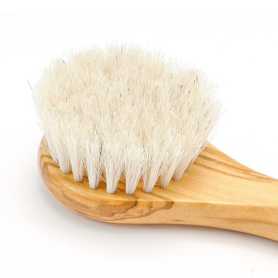 Hydrea London Olive Wood Facial Brush with Medium Strength Horsehair Bristles Face Brush The Natural Sea Sponge Co