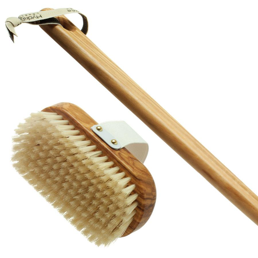 Hydrea London Pure Bristle Bath Brush, Olive Wood Detachable Handle - Fendrihan Canada - 3