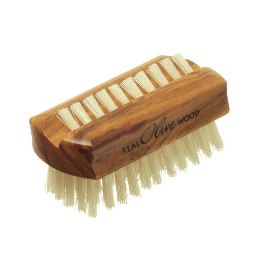 Hydrea London Dual-Sided Olive Wood Nail Brush with Pure Bristle, Travel Size Nail Brush The Natural Sea Sponge Co