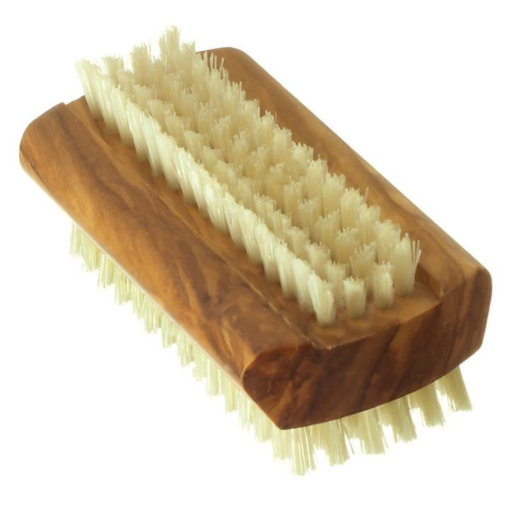 Hydrea London Dual-Sided Olive Wood Nail Brush with Pure Bristle, Large Nail Brush The Natural Sea Sponge Co