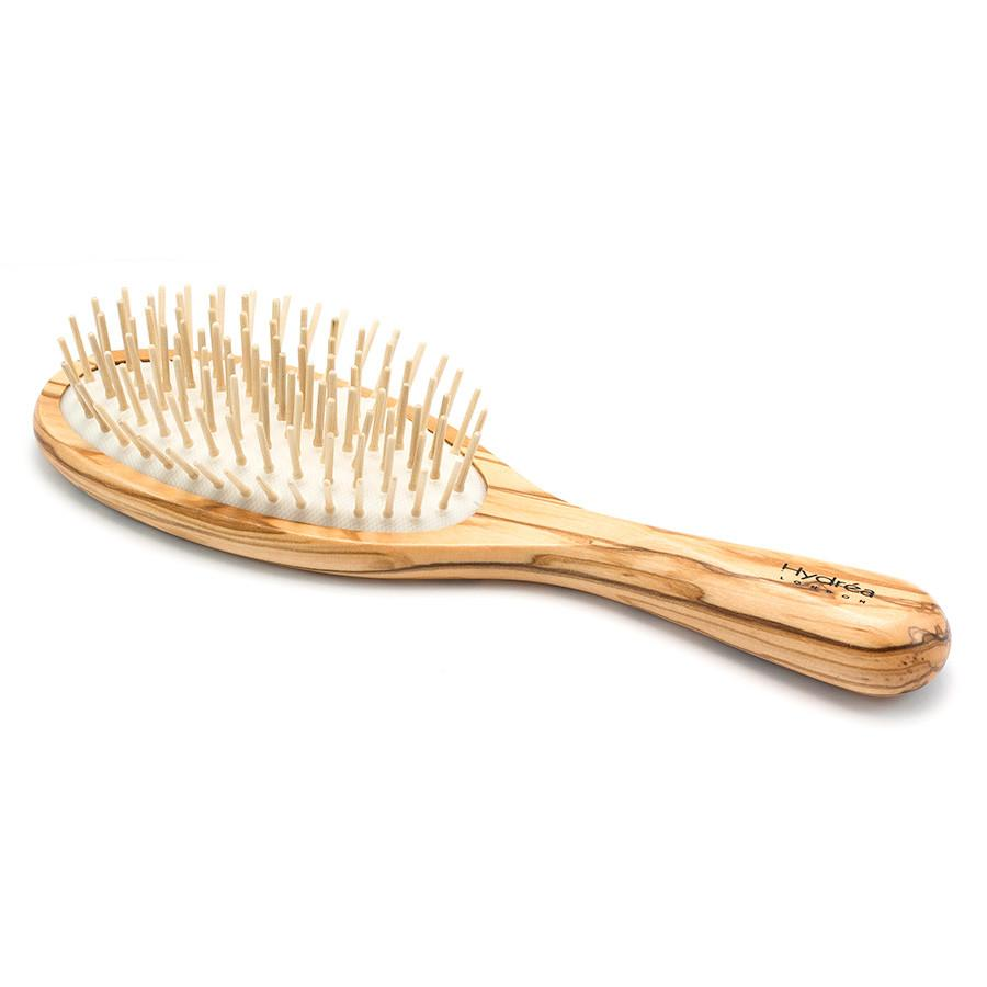 Hydrea London Olive Wood Oval Hair Brush With Olive Wood Pins and Rubber Cushion Hair Brush The Natural Sea Sponge Co
