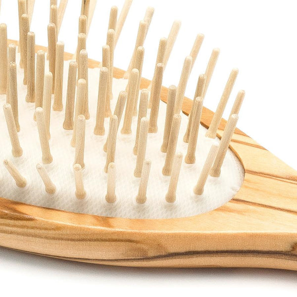 Hydrea London Olive Wood Oval Hair Brush With Olive Wood Pins and Rubber Cushion - Fendrihan Canada - 2