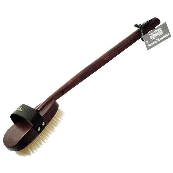 Hydrea London Natural Bristle Bath Brush, Walnut Wood Detachable Handle - Fendrihan Canada - 3