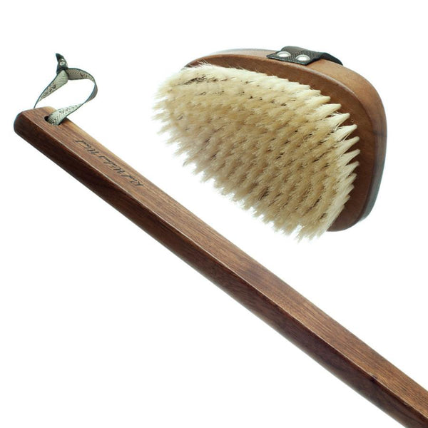 Hydrea London Natural Bristle Bath Brush, Walnut Wood Detachable Handle - Fendrihan Canada - 2