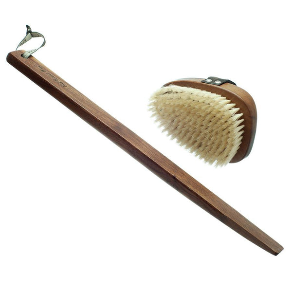 Hydrea London Natural Bristle Bath Brush, Walnut Wood Detachable Handle - Fendrihan Canada - 1