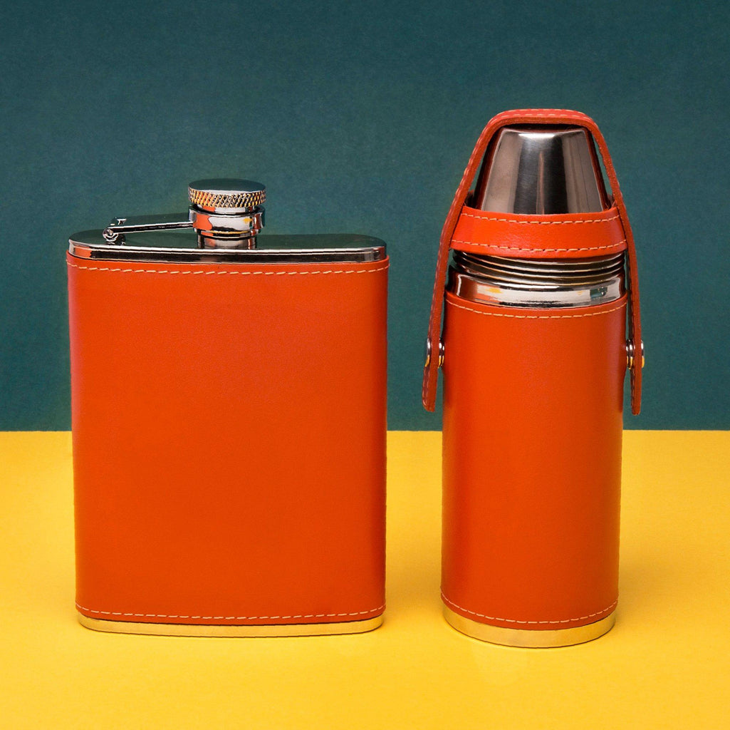 Ettinger Sterling 8oz Hunter Flask with 4 Cups and Funnel, Orange Flask Ettinger