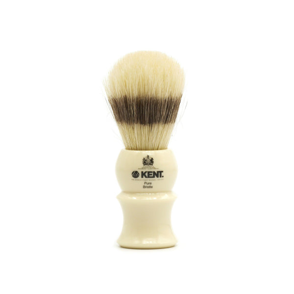 Kent Visage VS30 Pure Bristles with Badger Effect Shaving Brush, White Handle - Fendrihan Canada - 1