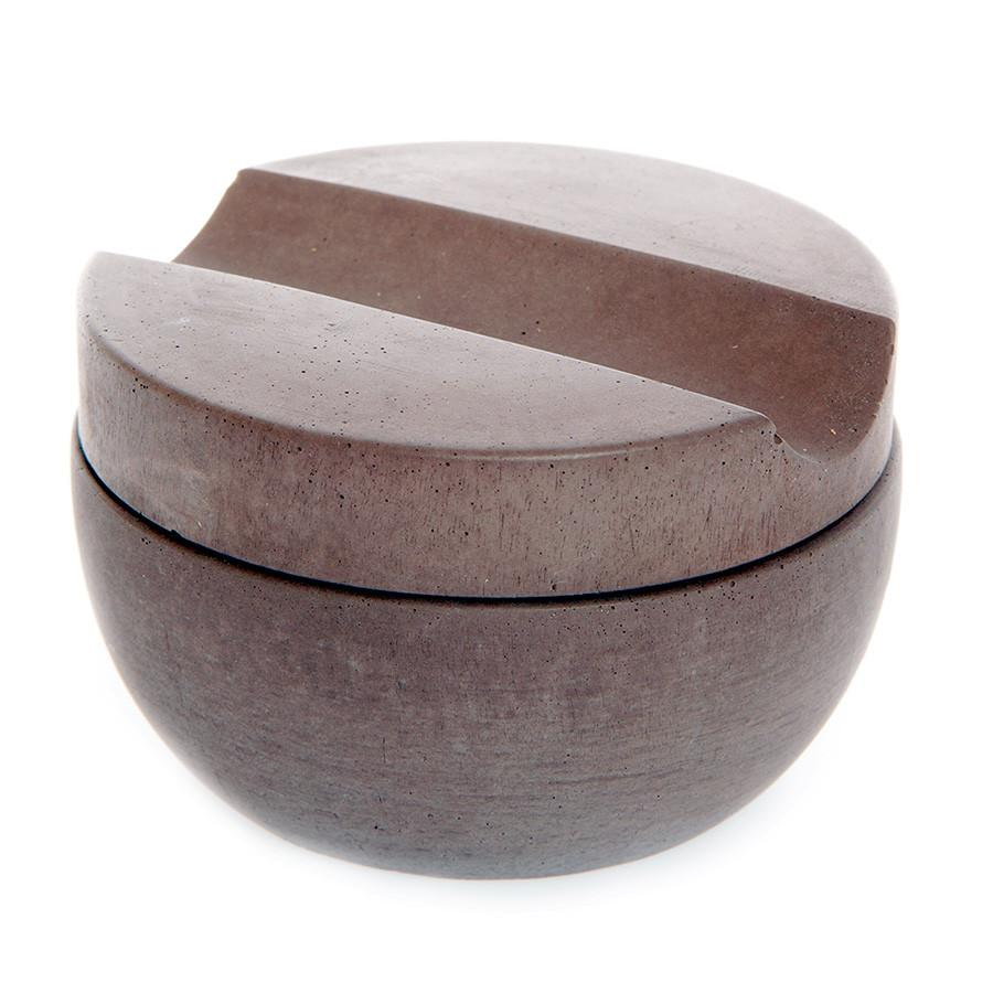 Iris Hantverk Concrete Bowl and Lid with Muhle Sandalwood Shaving Soap Shaving Soap Iris Hantverk Brown