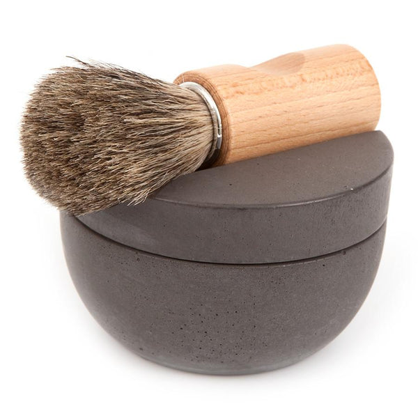 Iris Hantverk Concrete Bowl and Lid with Muhle Sandalwood Shaving Soap - Fendrihan Canada - 3