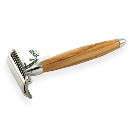 Joris Palladium Plated Classic Double-Edge Safety Razor, Olivewood Handle - Fendrihan Canada - 1
