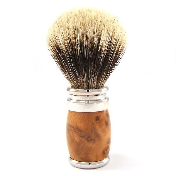 Joris European White Badger Shaving Brush, Thuja Wood Badger Bristles Shaving Brush Plisson - Joris
