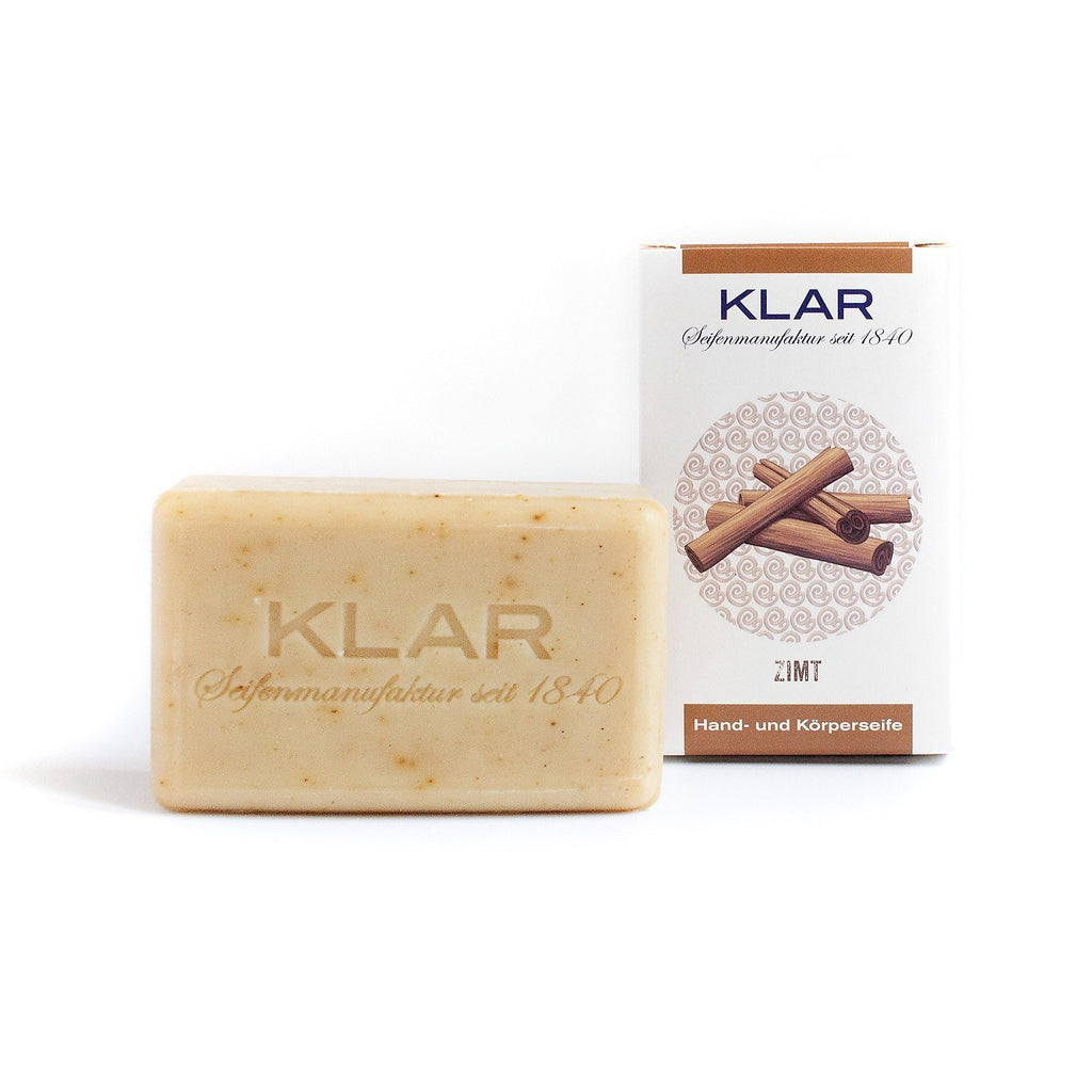Klar's Classic Hand Size Soap, Palm Oil-Free Body Soap Klar Seifen Cinnamon