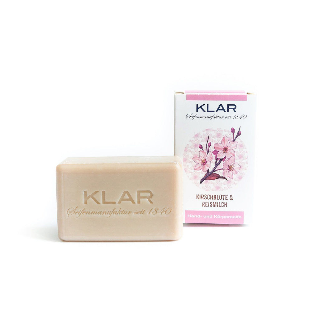 Klar's Classic Hand Size Soap, Palm Oil-Free Body Soap Klar Seifen Cherry Blossom & Rice Milk