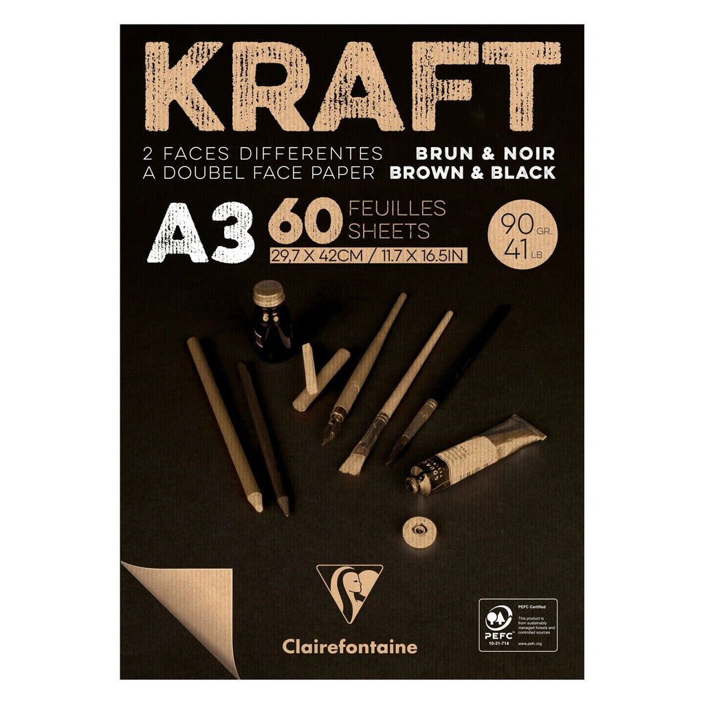 Clairefontaine Black & Brown A3 Kraft Paper Notepad Clairefontaine