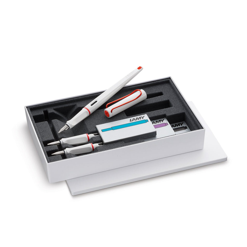 LAMY Joy Calligraphy Fountain Pen Gift Set, White and Red Fountain Pen LAMY