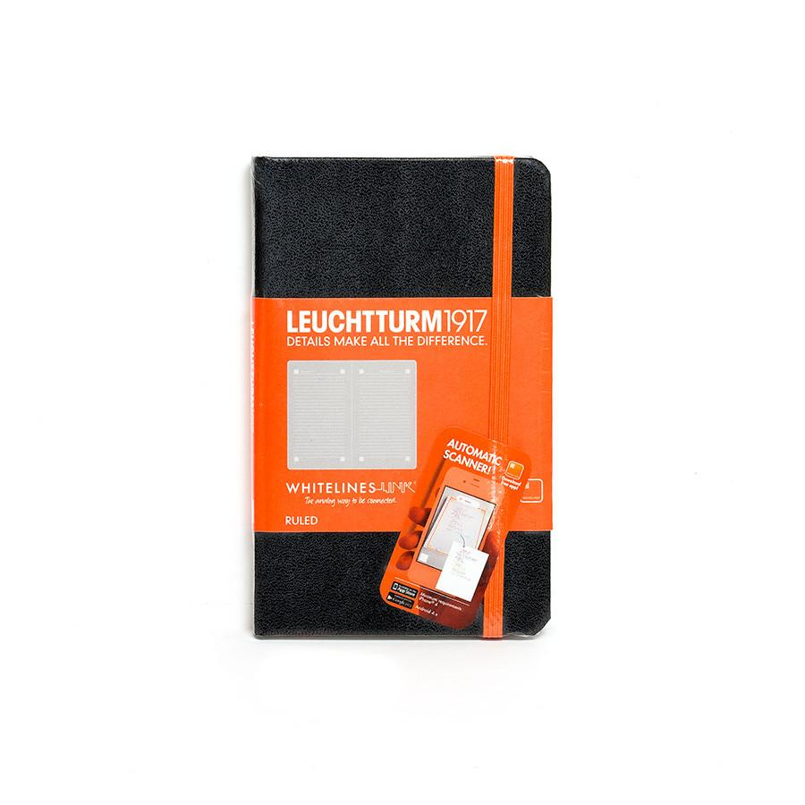 Leuchtturm1917 Whitelines Link Pocket Hard Cover Notebook, Black, Ruled Notebook Leuchtturm1917