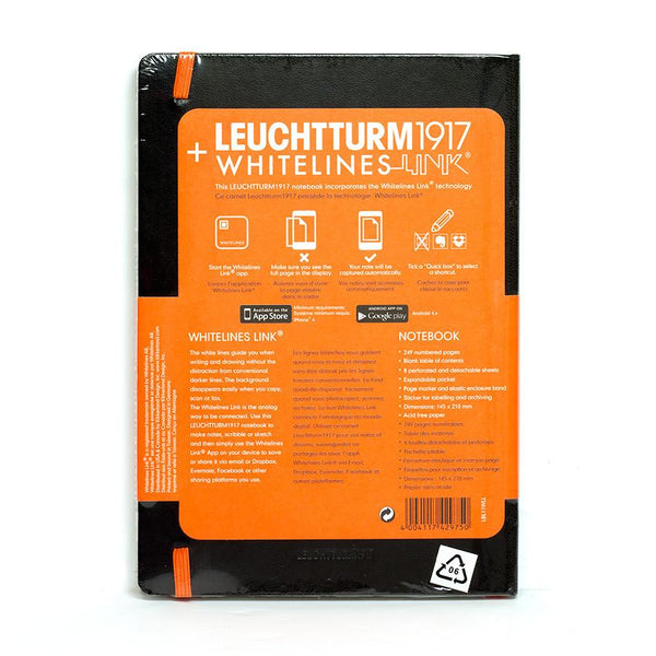 Leuchtturm1917 Whitelines Link Medium Hard Cover Notebook, Black, Ruled - Fendrihan Canada - 2