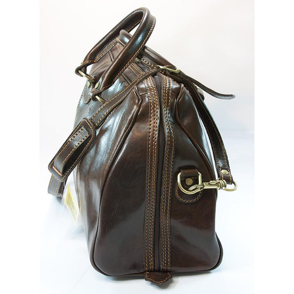 Manufactus Massimo Leather Overnight Bag, Dark Brown - Fendrihan Canada - 2