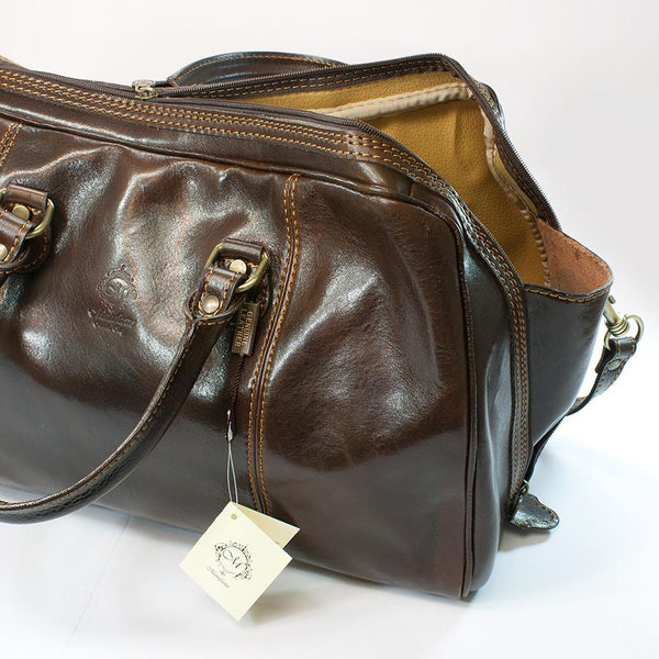 Manufactus Massimo Leather Overnight Bag, Dark Brown - Fendrihan Canada - 4