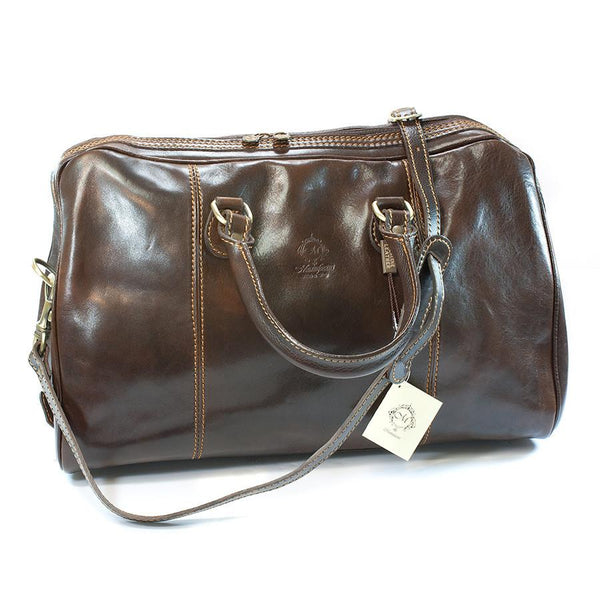 Manufactus Massimo Leather Overnight Bag, Dark Brown - Fendrihan Canada - 1