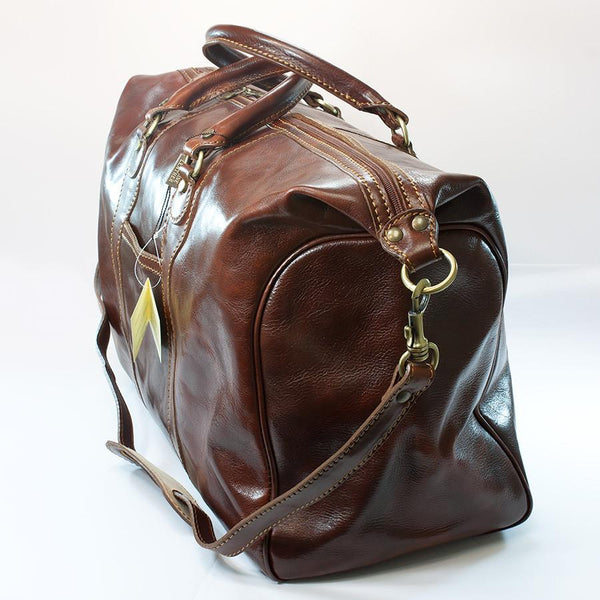 Manufactus Impero Large-Size Leather Travel Bag, Tobacco - Fendrihan Canada - 3