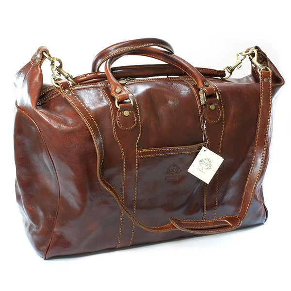 Manufactus Impero Large-Size Leather Travel Bag, Tobacco - Fendrihan Canada - 2