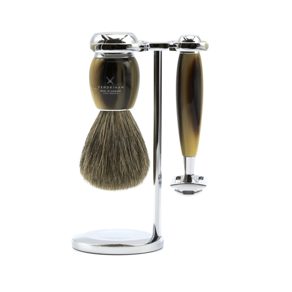 Fendrihan 3-Piece Shaving Set with Safety Razor and Pure Badger Brush, Faux Horn - Fendrihan Canada
