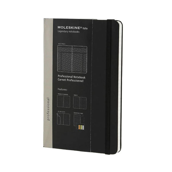 Moleskine Folio 5 x 8 Hard Cover Professional Notebook in Black - Fendrihan Canada - 1