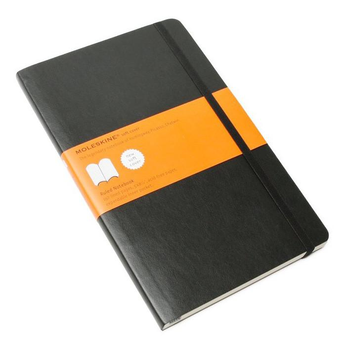 Moleskine 5 x 8 Soft Cover Notebook in Black, Lined - Fendrihan Canada - 1