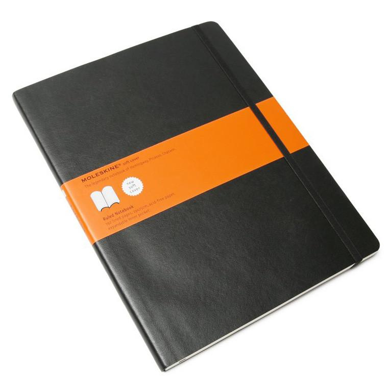 Moleskine 7.5 x 10 Soft Cover Notebook in Black, Lined Notebook Moleskine